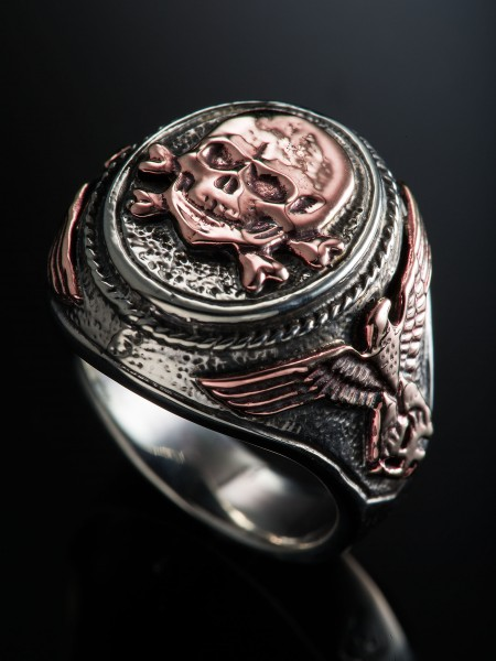 Totenkopf Ring – Combi(Pink Gold × Silver)