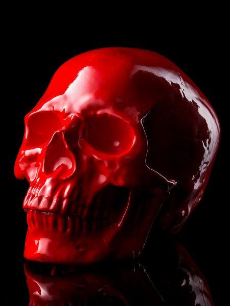 骸骨陶器製オブジェ – 赤