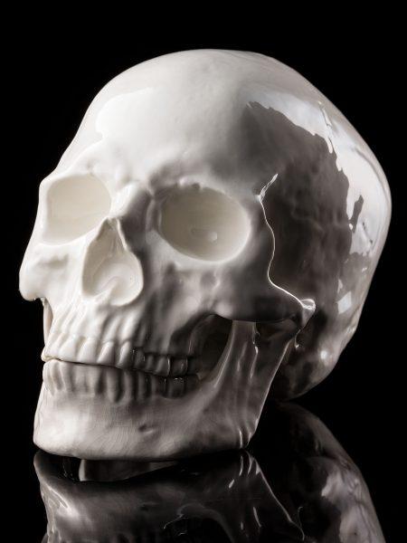 骸骨陶器製オブジェ – 白