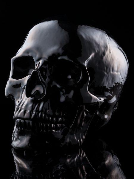 骸骨陶器製オブジェ – 黒